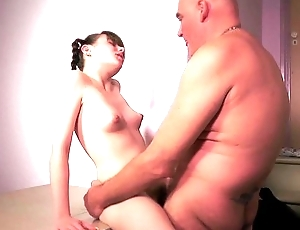 Cutie big tits girl gender shy grandpa while naughty masturbating