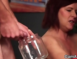 Naughty looker gets cum load on her prospect eating all the jizm