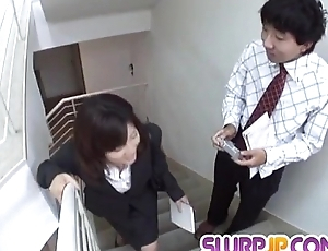 Upskirt show with flannel sucking Kana Shimada