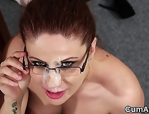 Slutty idol gets jizz shot on her face eating all the jism