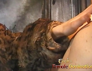Lusty redhead battle-axe ties her man down and pleasures his cock