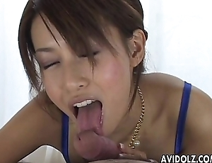 Oriental milfy glam babe sucking on the huge dick