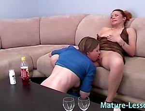 Mature female parent likes young babe