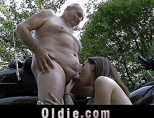 Young petite girl swallows ancient cum after grandpa cock ride