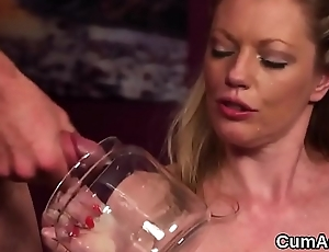 Worthless sex kitten gets cum shot on her face swallowing all the charge