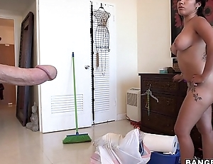 Maid cleans my cock