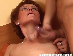 Redhead Grandma In Glasses Fucks Young Cock