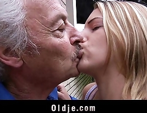 Young school girl deepthoat old flannel sucking cum swallow for chunky grandpa