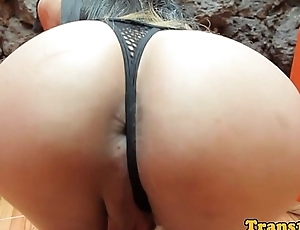 Lingerie latina tranny toying ass with dildo